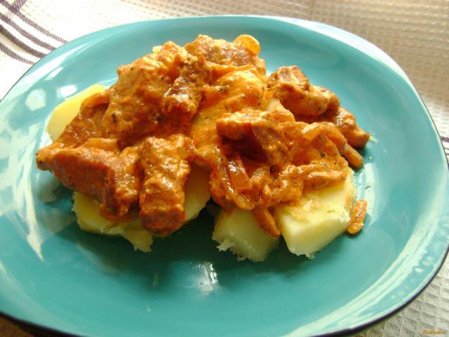 Рецепт Свинина в сметанно-томатном соусе рецепт с фото
