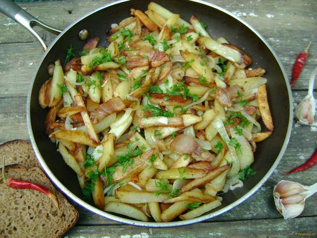 Рецепт Картофель жареный на сале рецепт с фото