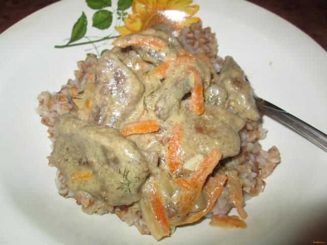 Рецепт Свиная печень тушеная в сметане рецепт с фото