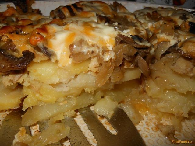 Рецепт Запеченный картофель с грибами и мясом рецепт с фото
