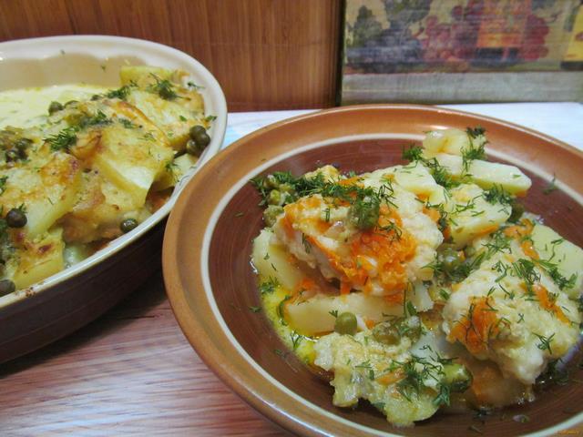 Рецепт Хек с овощами под соусом из йогурта рецепт с фото