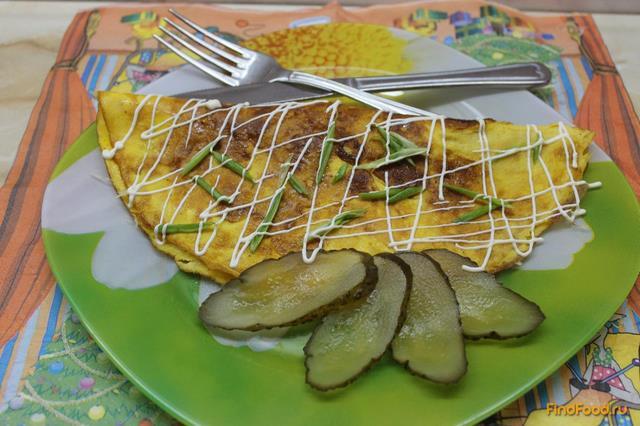 Рецепт Омлет из двух яиц фаршированный твердым сыром и грибами рецепт с фото