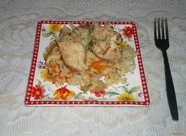 Рецепт Рисовая каша с курицей и овощами в рукаве рецепт с фото