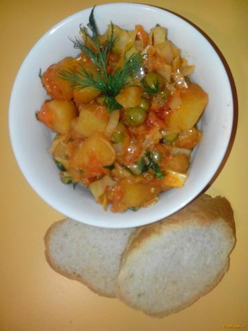 Рецепт Картофель тушеный с овощами и зеленым горохом рецепт с фото