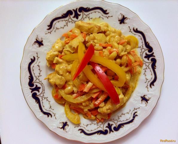 Рецепт Курица с овощами в сливочно пряном соусе рецепт с фото
