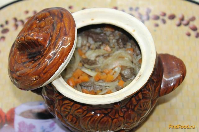 Рецепт Гречка в горшочке с свиной печенью рецепт с фото