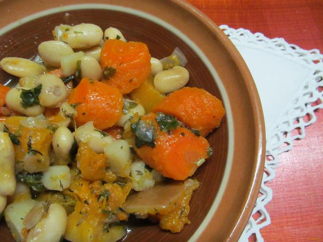 Рецепт Овощное рагу с тыквой и фасолью рецепт с фото