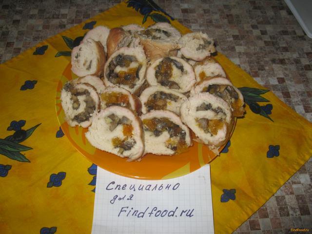 Рецепт Куриный рулет с грибами и курагой рецепт с фото