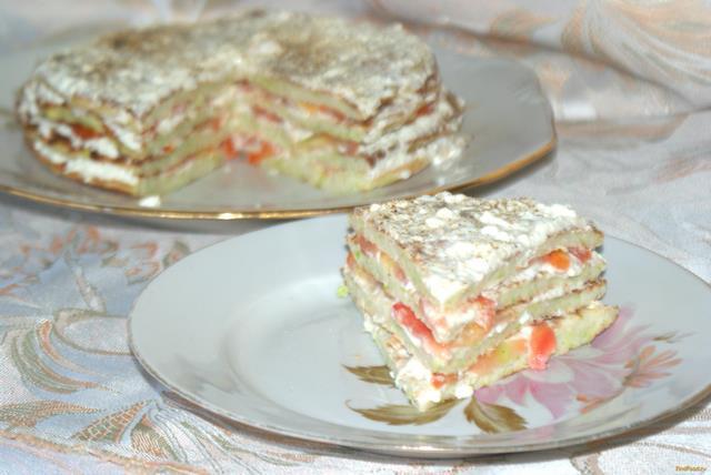 Рецепт Кабачковый торт с плавленным сыром и помидорами рецепт с фото