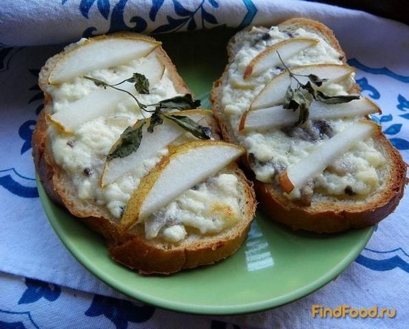 Рецепт Гренки с творогом грибами и грушей рецепт с фото