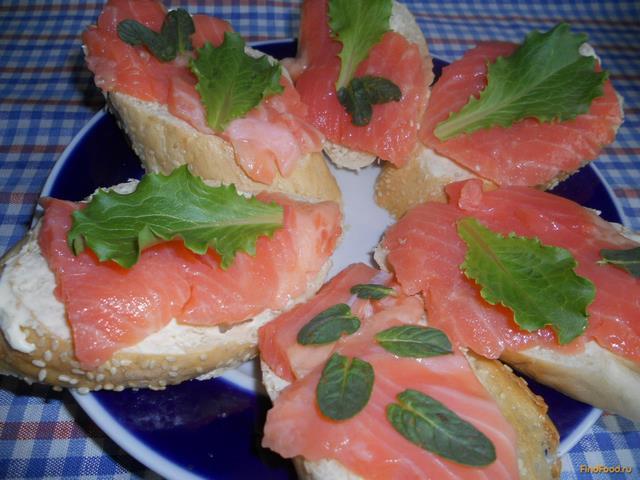 Рецепт Бутерброды с семгой и зеленью рецепт с фото