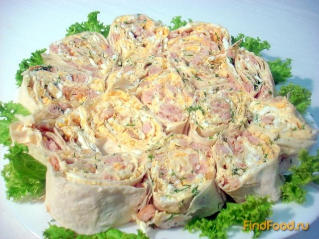 Рецепт Лаваш с колбасой и сыром рецепт с фото