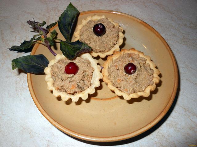 Рецепт Тарталетки с куриным паштетом рецепт с фото