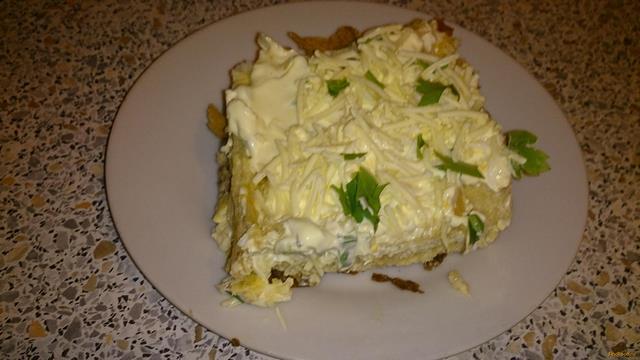 Рецепт закусочный торт с консервой рецепт с фото