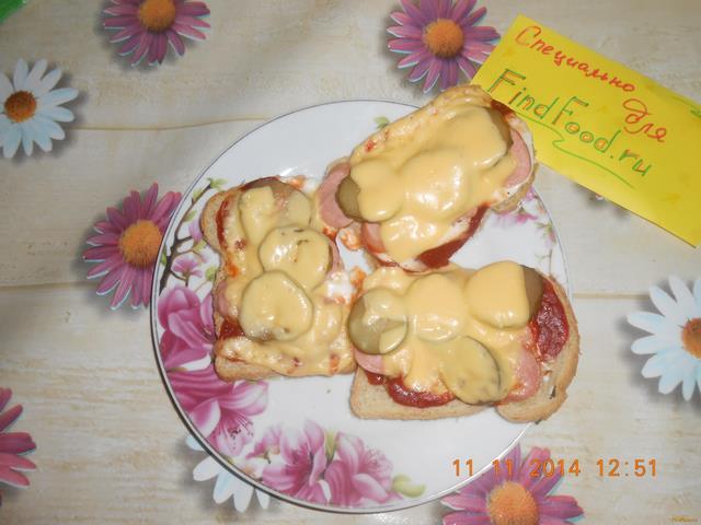 Рецепт Бутерброды- мини-пиццы рецепт с фото
