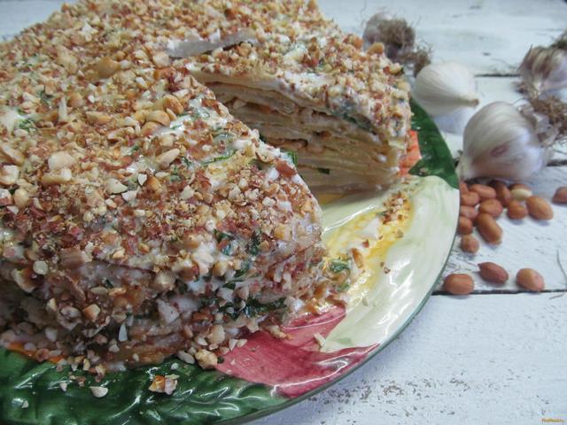 Рецепт Закусочный торт из капустных листьев рецепт с фото