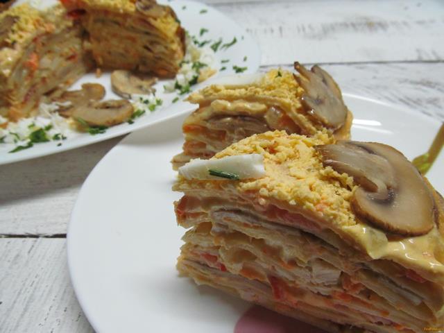 Рецепт Блинный торт закусочный рецепт с фото