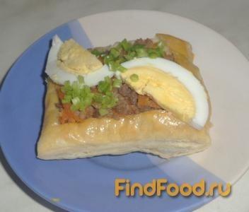 Рецепт Слойки с мясом и яйцом рецепт с фото