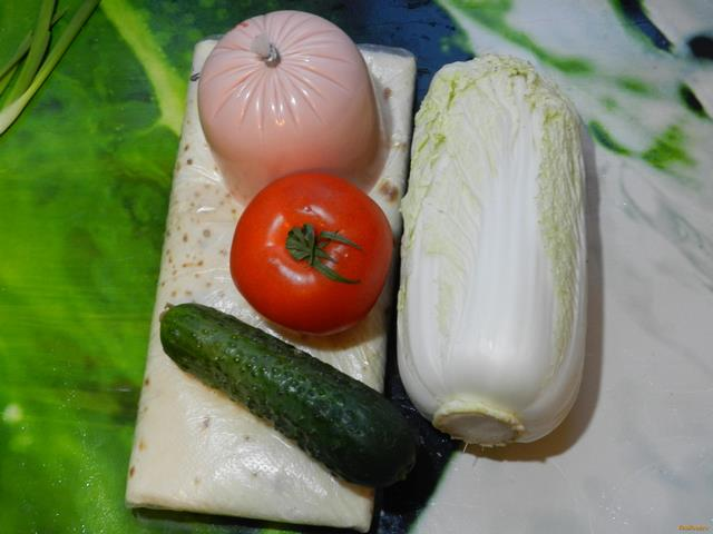 Домашняя шаурма с колбасой рецепт с фото 1-го шага